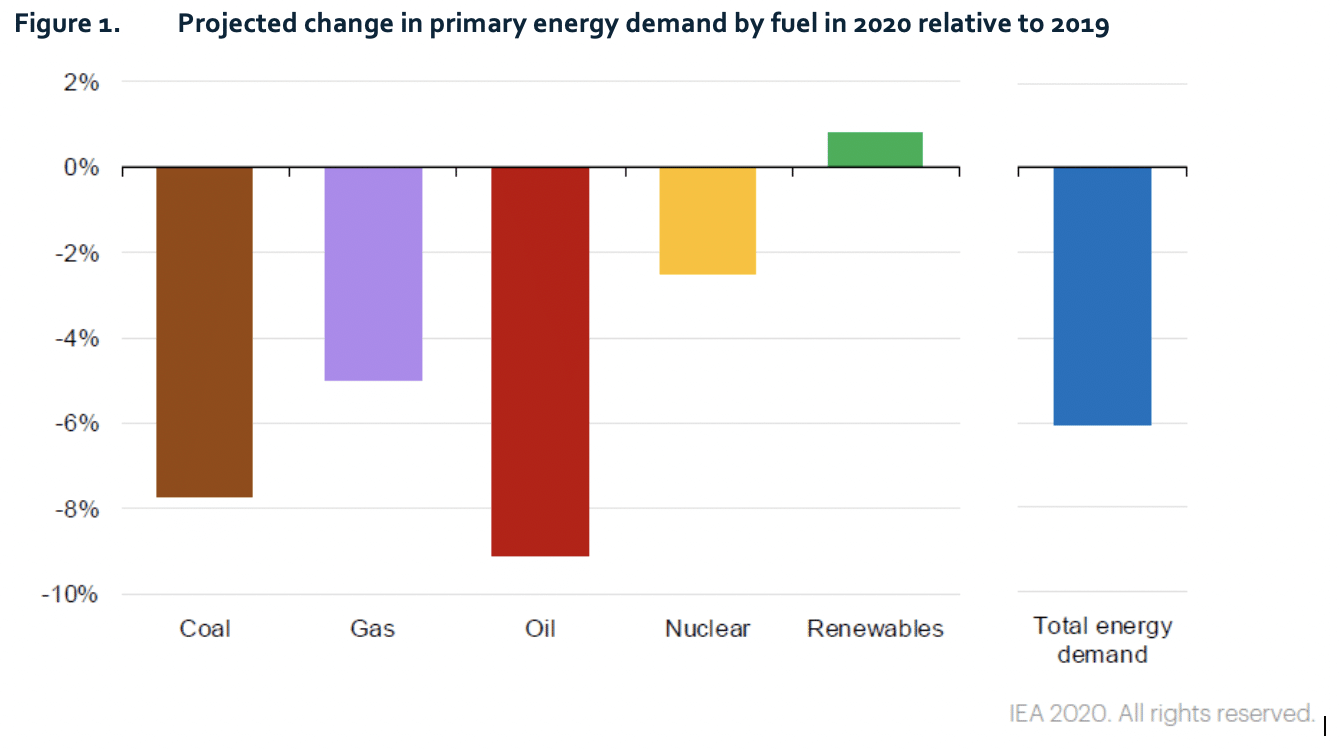 Figure 1. Projected change in primary energy demand by fuel in 2020 relative to 2019