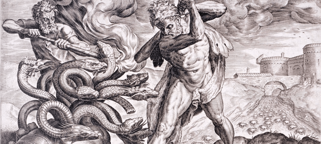 Cornelis Cort (1533–1578) Blue pencil.svg wikidata:Q167220 Description English: Engraving about the second labour of Heracles: slay the Lernaean Hydra
