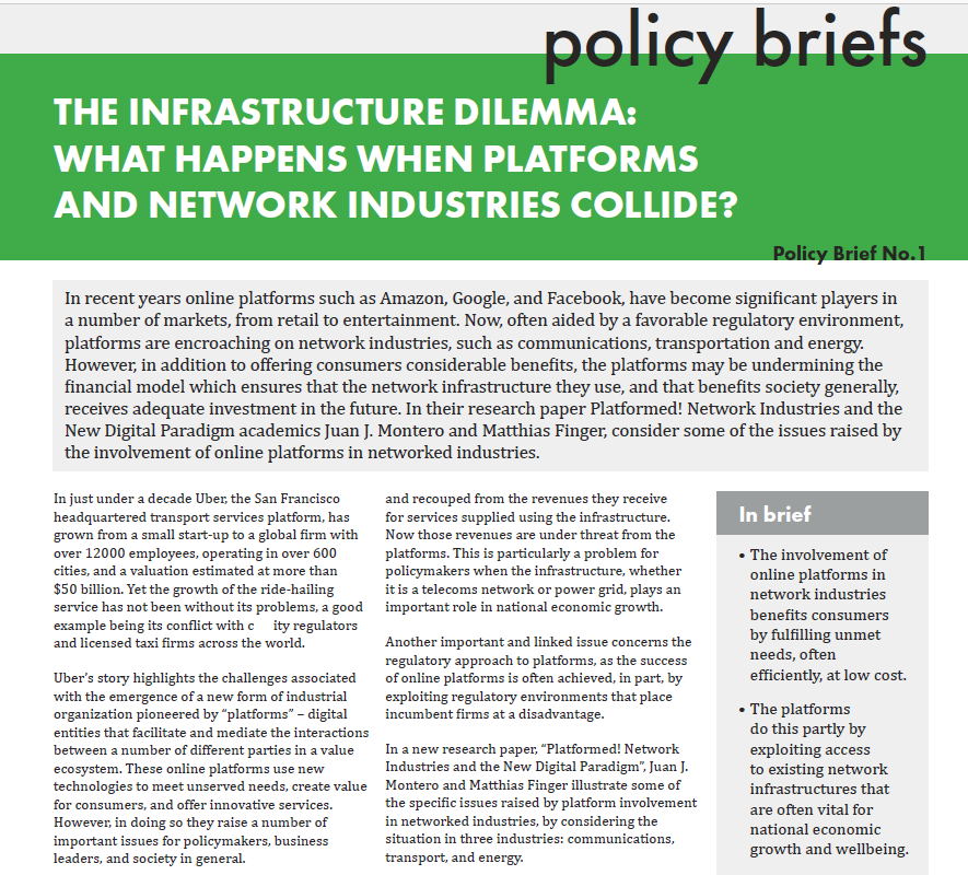 Network Industries. A New Series of Policy Briefs