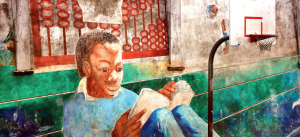 Photo of a painted wall in San Francisco (a boy studying in a playground)