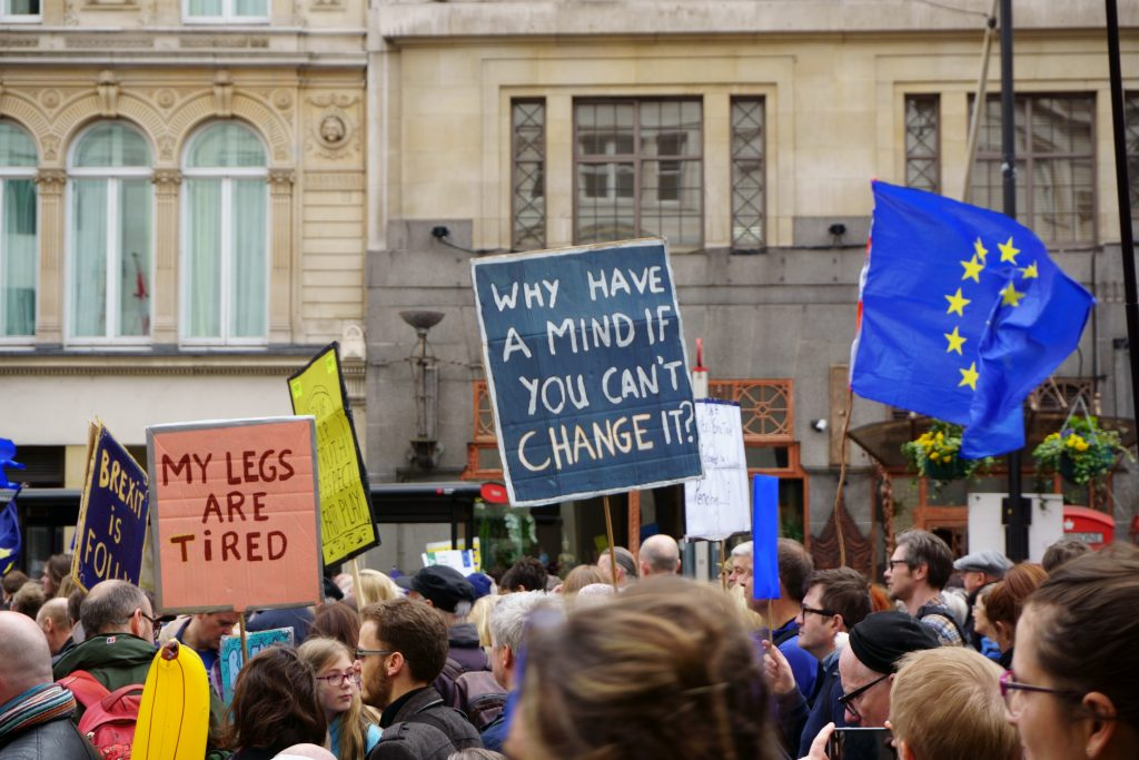 protesters at the stop brexit march